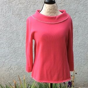 Cowl neck pink sweater